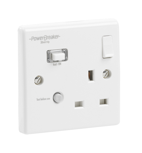 PowerBreaker RCD Single Switched Socket 13A 30mA trip current