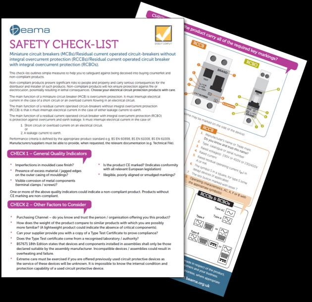 BEAMA publishes  Safety Check List for Circuit Protection Products 1