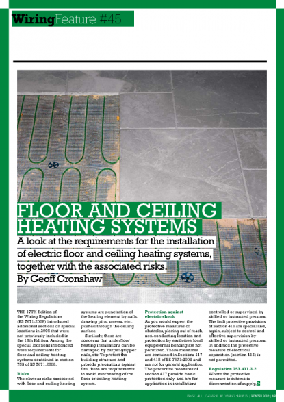 IET - Technical Article - Floor and Ceiling Heating